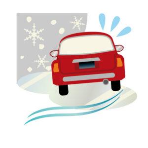 雪道でスリップする車のイラスト